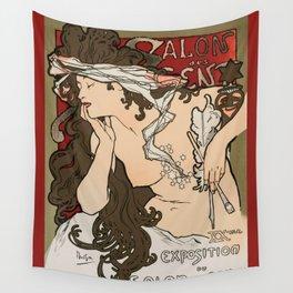 "Alphonse Mucha ""Salon des Cent (Salon of the Hundred)"", 1896 Wall Tapestry"