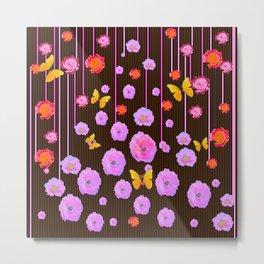 YELLOW BUTTERFLIES AMONG  FLOATING PINK  ROSES Metal Print