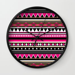 Pink and Black Aztec Pattern Wall Clock
