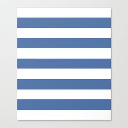 Blue yonder - solid color - white stripes pattern Canvas Print