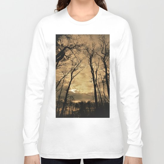 snow clouds above the wood Long Sleeve T-shirt