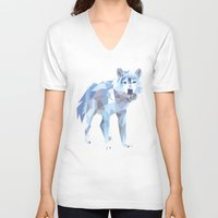 low poly V-neck T-shirts featuring Low Poly Wolf by idrux