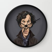 benedict cumberbatch Wall Clocks featuring Celebrity Sunday ~ Benedict Cumberbatch by rob art | illustration