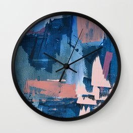 Rhythm of Rain: a modern abstract piece by Alyssa Hamilton Art in blues and pinks Wall Clock