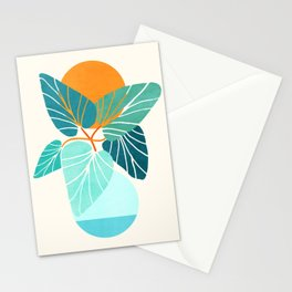 Tropical Symmetry / Retro Aqua Orange Palette Stationery Cards