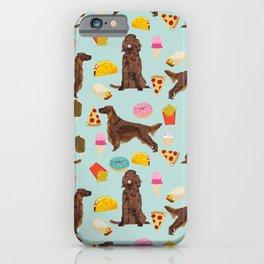 Irish Setter junk food pizza donuts dog breed cute custom pet portrait for dog lovers iPhone Case