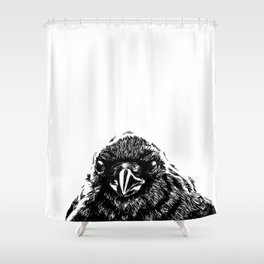 Interaction with crow Shower Curtain