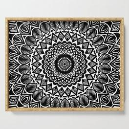 Detailed Black and White Mandala Serving Tray