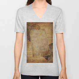 Two Hearts are One - Vintage Romantic Steampunk Art Unisex V-Neck