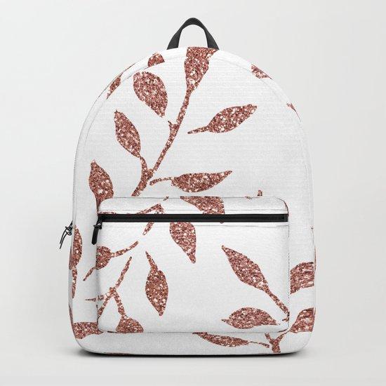 Garden Vines Pink Rose Gold Glitter Backpack