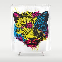 COLORED LEOPARD Shower Curtain