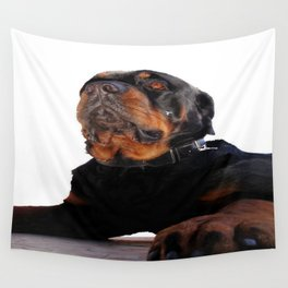 Regal and Proud Male Rottweiler Portrait Isolated Wall Tapestry