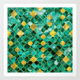 Quatrefoil Moroccan Pattern Green Malachite and gold Art Print