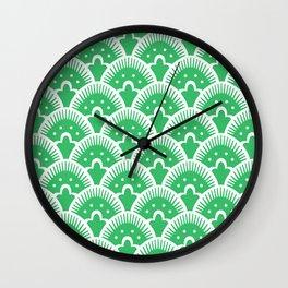 Fan Pattern Green Wall Clock