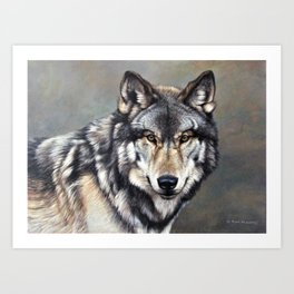 Timber Wolf by Alan M Hunt Art Print