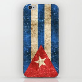 Vintage Aged and Scratched Cuban Flag iPhone Skin