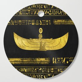 Golden Egyptian God Ornament on black leather Cutting Board