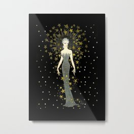 "Art Deco Sepia Illustration ""Star Studded Glamor"" Metal Print"