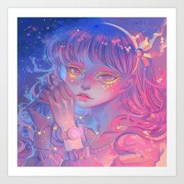 Aesthetic neon anime girl pattern Art Print