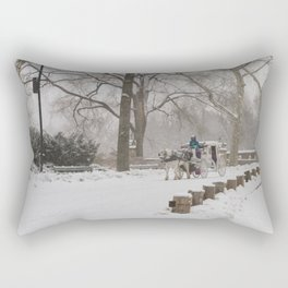 Snow Day Carriage Ride Through Central Park Rectangular Pillow