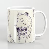 hat Mugs featuring WOLF HAT by Mike Koubou