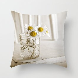 Simple White Daisy Flowers Throw Pillow
