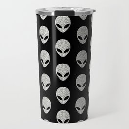 Glitter Grey Aliens Travel Mug