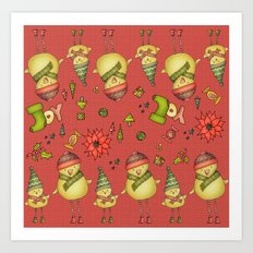 Two Chicks Pattern ~ Red Art Print
