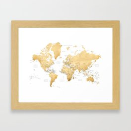 Gold world map with country capitals Framed Art Print