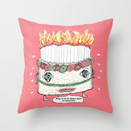 Why is it so damn HOT in here?!!! pink Throw Pillow