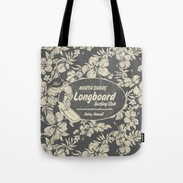 Club Surfing Longboard Logo and Hibiscus Hawaiian Print  Tote Bag