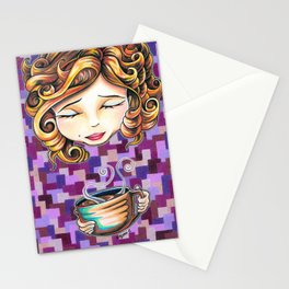 Curls and Coffee Swirls Stationery Cards