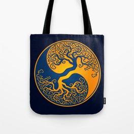 Blue and Yellow Tree of Life Yin Yang Tote Bag