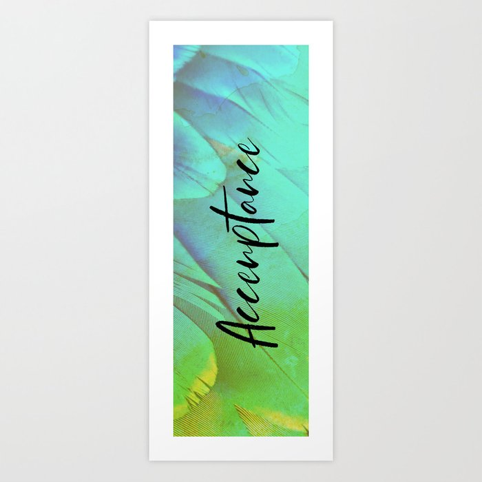 Yoga Mat | Acceptance Typeography | Bird Feather Green Blue Yellow Art Print