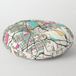 Colorful City Maps: Cleveland, Ohio Floor Pillow