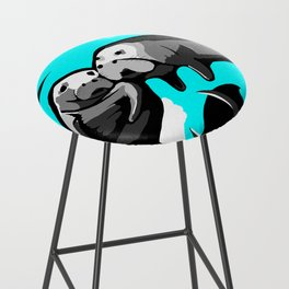 Manatee Love in blue Bar Stool