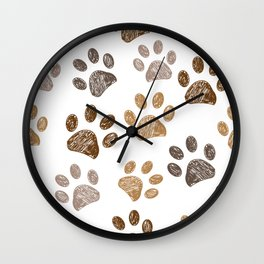 Brown colored paw print background seamless Wall Clock