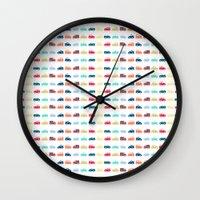 cars Wall Clocks featuring Cars by Yasmina Baggili