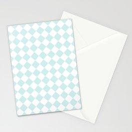 Diamonds - White and Light Cyan Stationery Cards