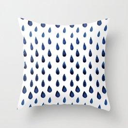 Blue Indigo Series - Drops of Water Pattern Throw Pillow