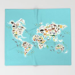 Cartoon animal world map for children and kids, Animals from all over the world Throw Blanket