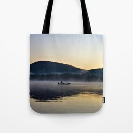 Fishing in the Morning Mist Tote Bag