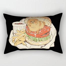dog in hamburger Rectangular Pillow