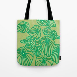 Pilea Peperomioides on Green Tote Bag