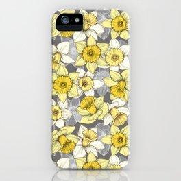 Daffodil Daze - yellow & grey daffodil illustration pattern iPhone Case