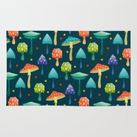mushrooms Area & Throw Rugs featuring Mushrooms by Julia Badeeva