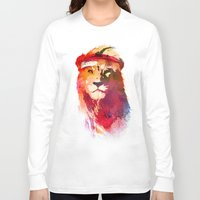 lion Long Sleeve T-shirts featuring Gym Lion by Robert Farkas