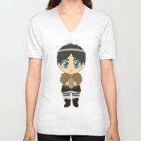 shingeki no kyojin V-neck T-shirts featuring Shingeki no Kyojin - Chibi Eren Flats by Tenki Incorporated