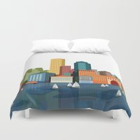 boston Duvet Covers featuring Boston  by GoFe