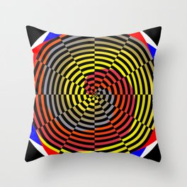 Red Yellow Blue Spiral Throw Pillow